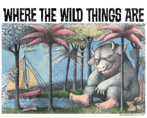A colourful illustration of a monster sat underneath some palm trees. At the top it says 'Where the Wild Things Are.'