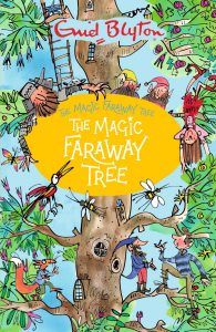 A colour image of a tree, with lots of animals and people sat on the branches. In the middle is a yellow circle filled with text saying 'The Magic Faraway Tree.'