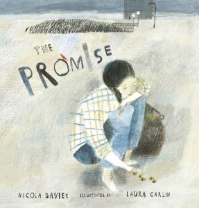 An illustration of a little girl crouched down holding an acorn. There is a title saying 'The Promise.'