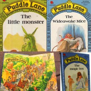 A collage of 4 books, all titled 'Puddle Lane.' There are various colourful images of a green monster, a mouse, a wood and a magic box.