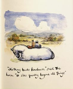 A watercolour image of a horse. There is text saying 'Nothing beats kindness. It sits beyond all things.'