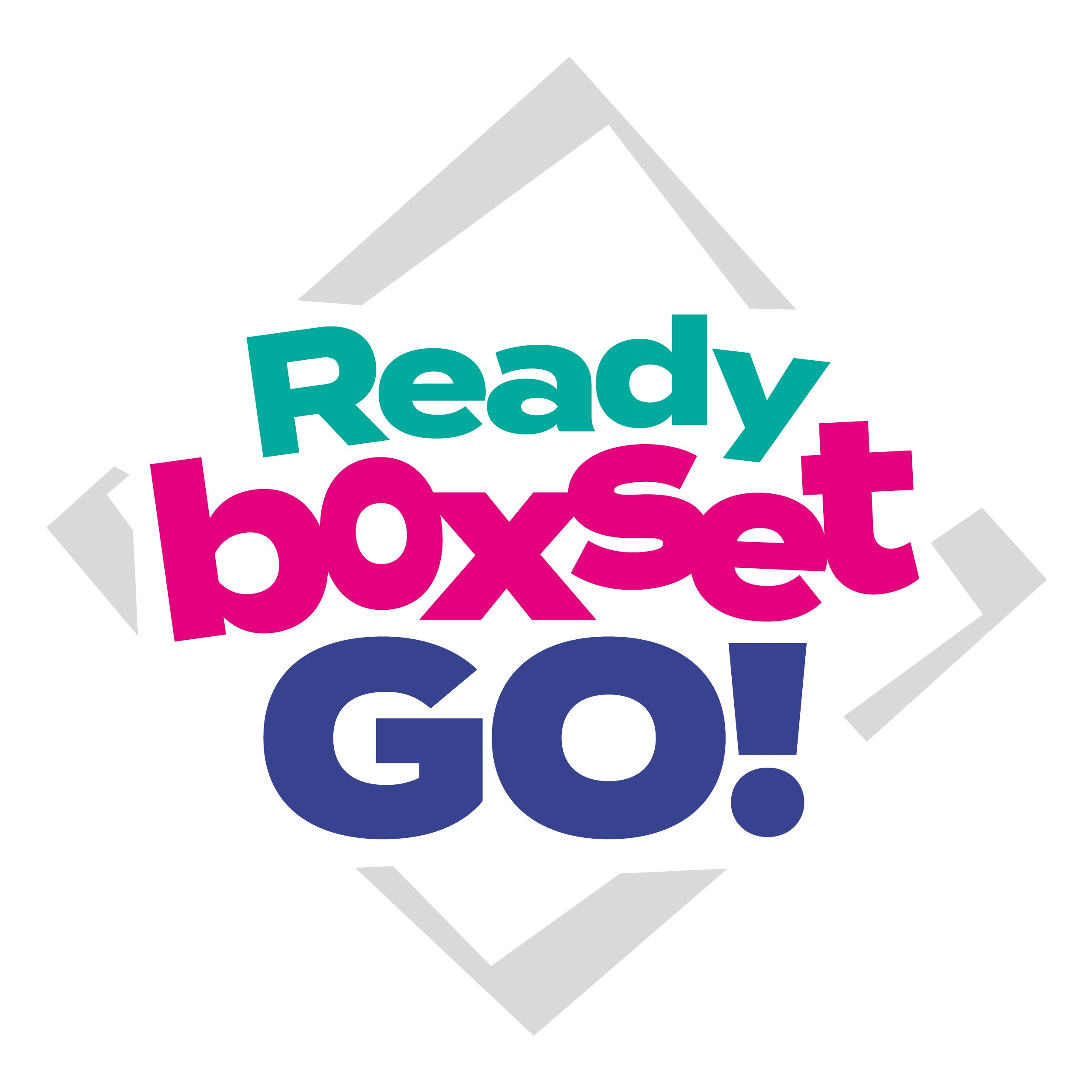 A green, pink and blue logo reading 'Ready Box Set Go.' It is surrounded by a grey square.