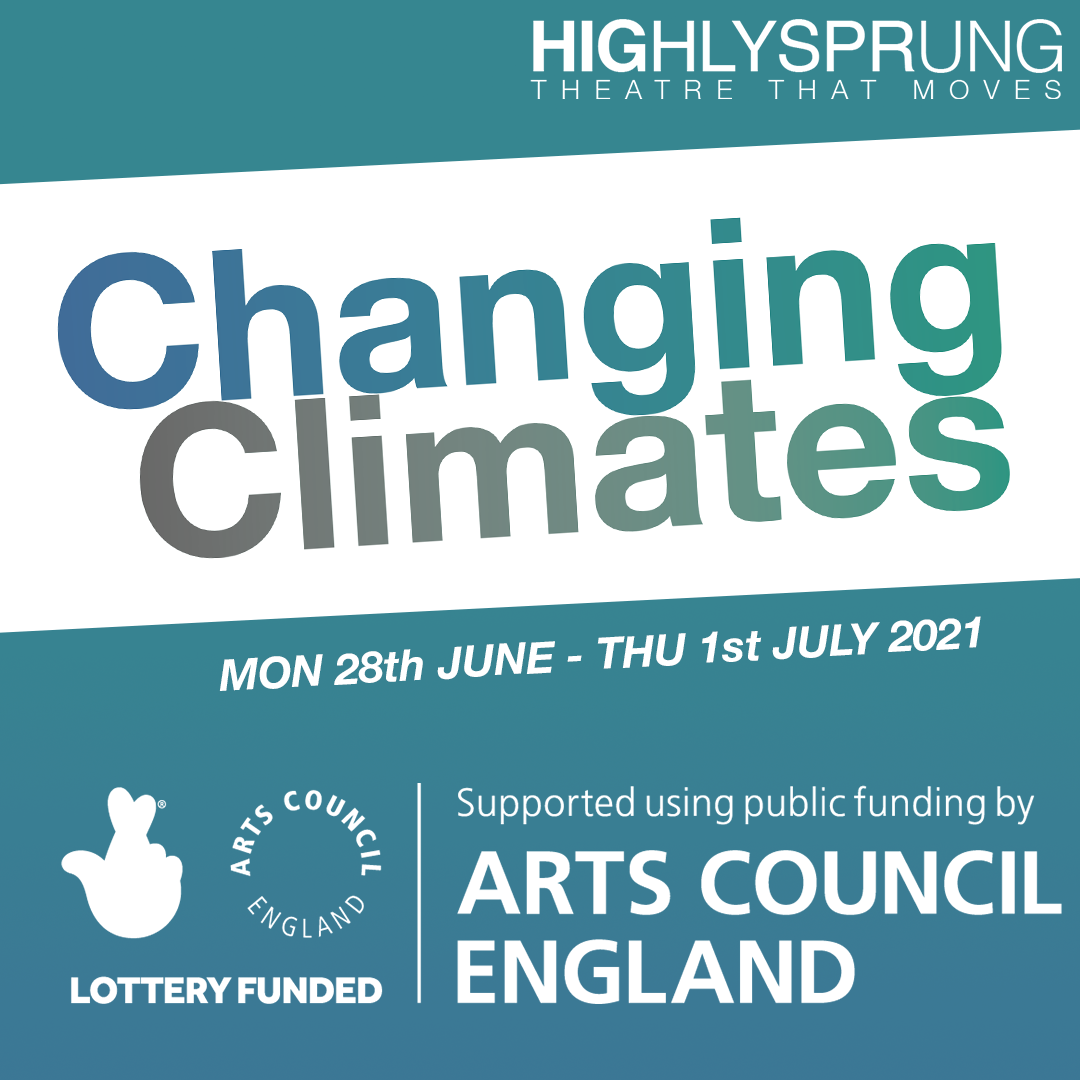 A turquoise square with text reading 'Changing Climates'