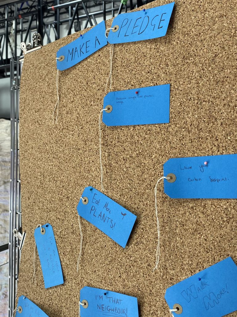 A cork board covered in blue pieces of paper. There is a banner at the top reading 'Make a Pledge' and each piece of paper has a different Pledge on, such as 'Eat More Plants' and 'Monitor you carbon footprint.'